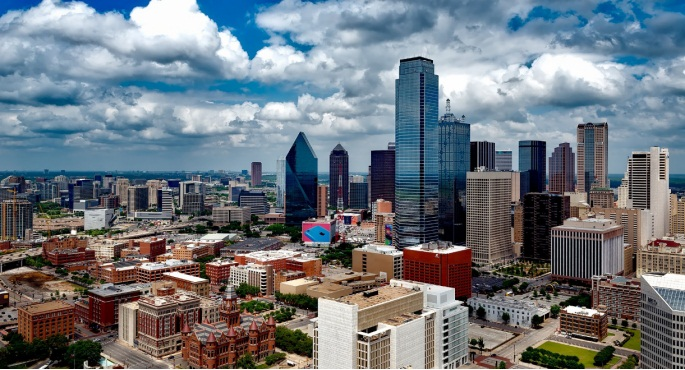 An aerial view of Dallas, Texas.