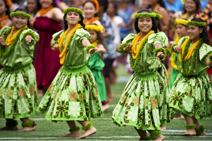 Hawaiian hula dancers.